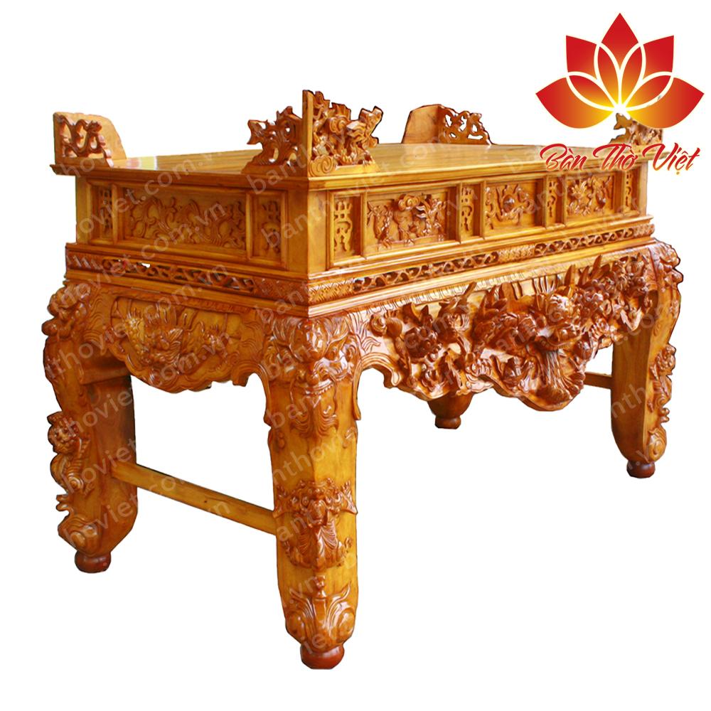 Mẫu sập thờ tứ linh bằng gỗ mít thiết kế đơn giản