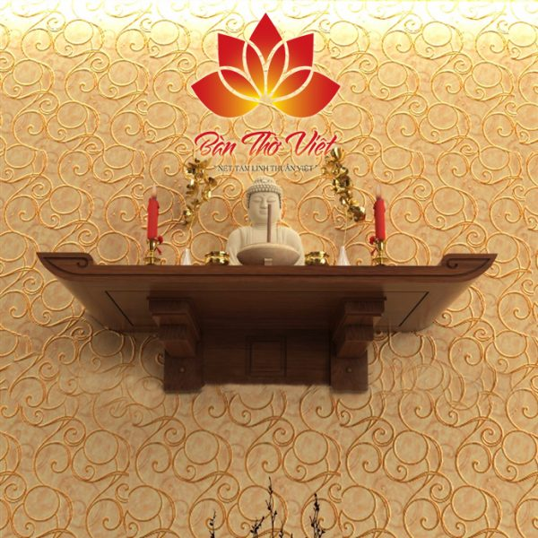Mẫu bàn thờ treo tường Đê La Thành được thiết kế chuẩn thước Lỗ Ban