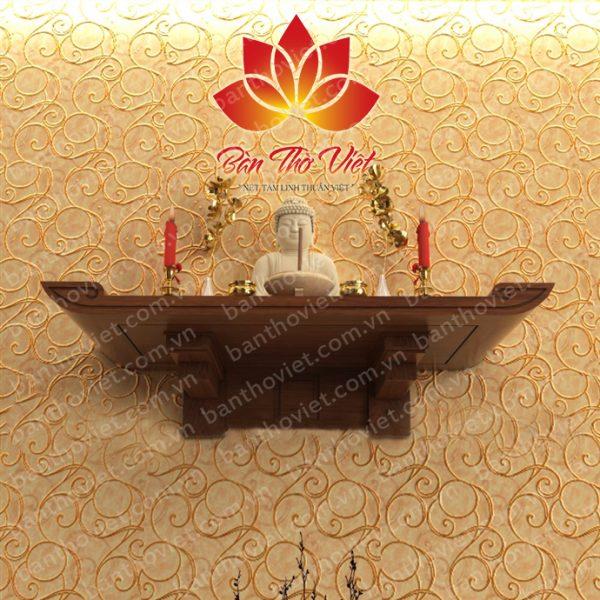 Mẫu bàn thờ Phật quan Âm treo tường được làm bằng gỗ gụ