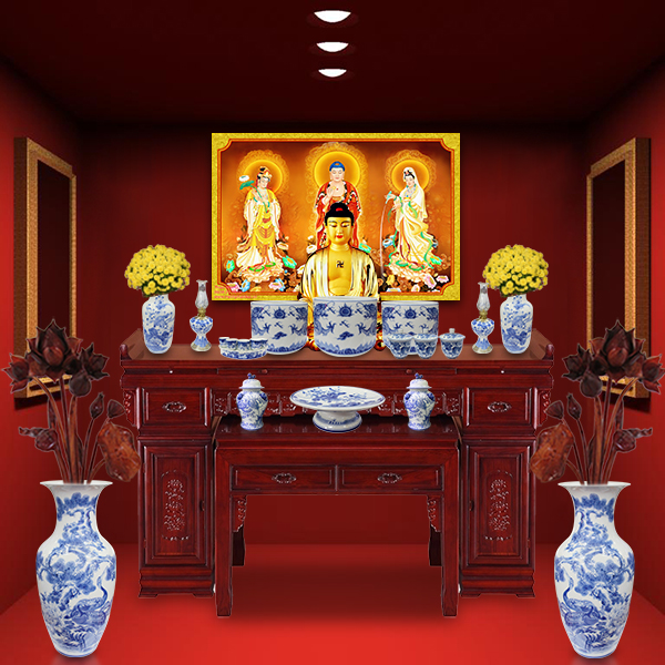 Mẫu tủ thờ Phật đẹp làm hoàn toàn bằng gỗ tự nhiên