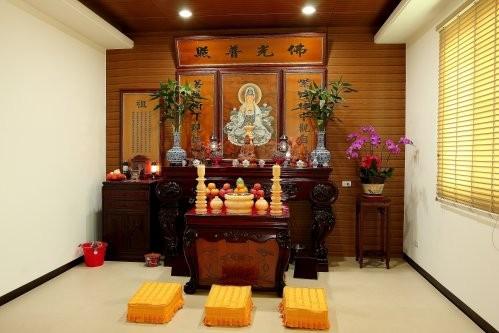 Mẫu tủ thờ Phật được thiết kế ấn tượng