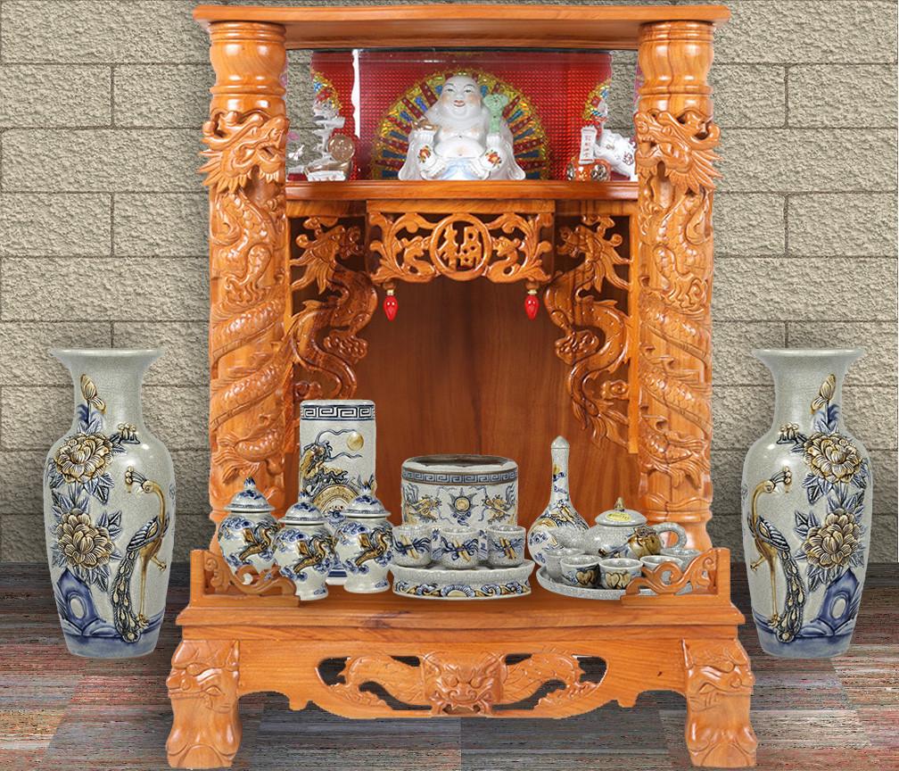 Mẫu bàn thờ Thần Tài kết hợp giữa hiện đại và truyền thống