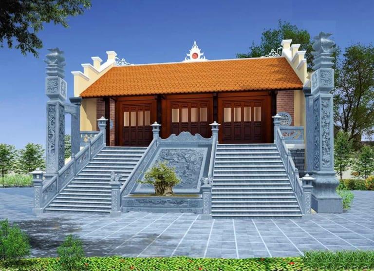 Mẫu nhà thờ diện tích nhỏ với 100m2 và sân vườn - Mẫu nhà từ đường diện tích nhỏ
