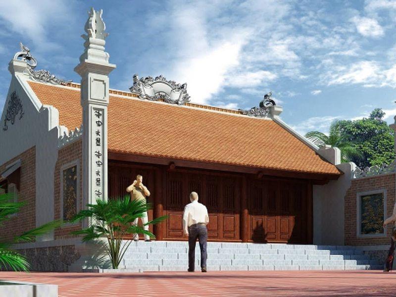 Mẫu thiết kế nhà thờ họ chữ nhị mang vẻ đẹp khang trang, bề thế